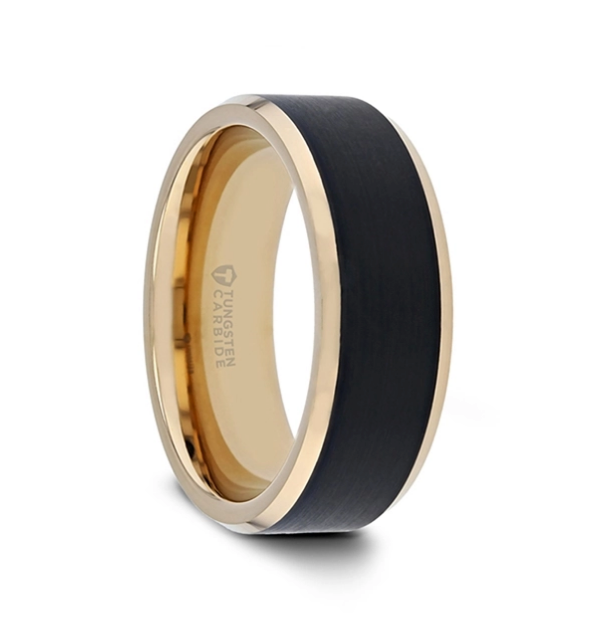 GASTON Gold Plated Tungsten Band with Brushed Black Center - 8mm