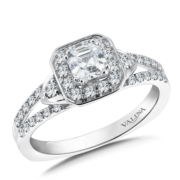 Valina Asscher cut shape halo mounting (0.35 ct. tw.) R9575W