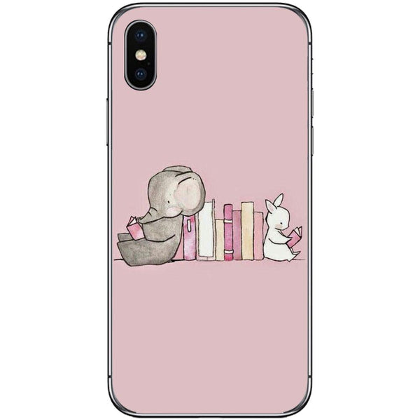 Phone Case Elephant&bunny Reading Cartoon Drawing APPLE Iphone X