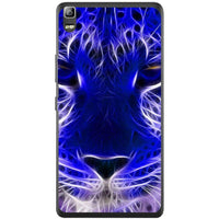 Phone Case Blue Neon Lion Lenovo K3 Note A7000