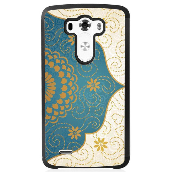 Etui na telefon Cream Blue Gold Paisley Damask Pattern LG G4