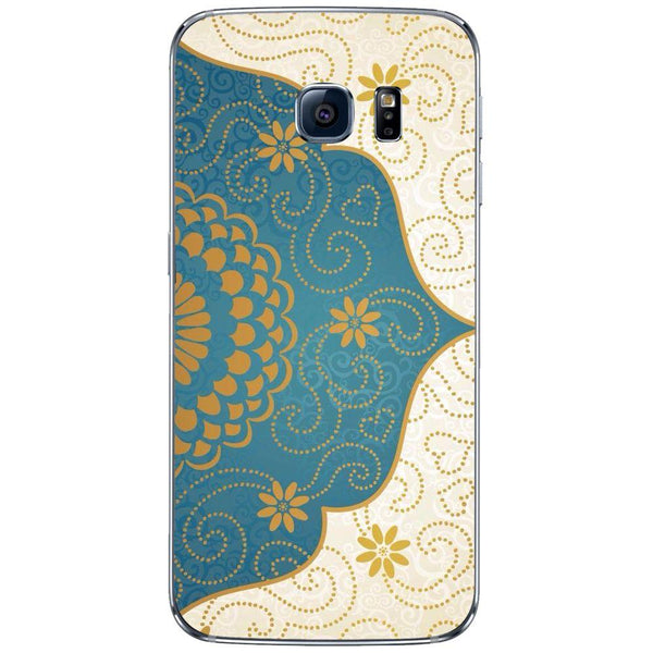 Etui na telefon Cream Blue Gold Paisley Damask Pattern SAMSUNG Galaxy S6 Edge