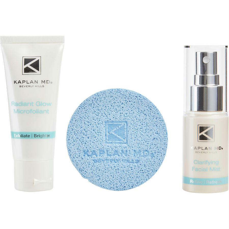 Skin Fit Superset - Radiant Glow Microfoliant 1.3oz & Clarifying Facial Mist 1.3 Oz & Glow Giving Skincare Sponge