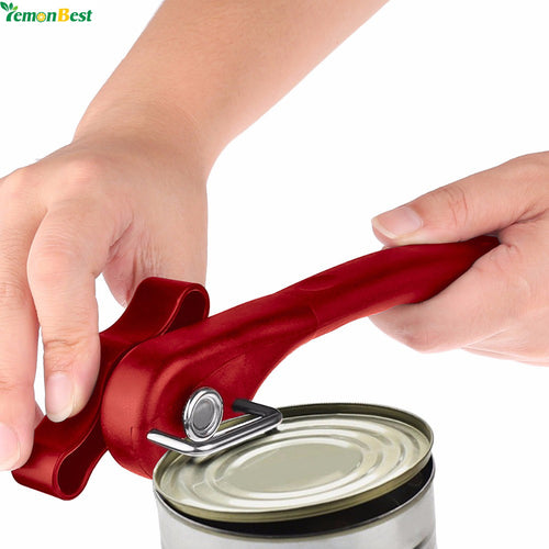 1 Red Smooth Edge Can Opener with effortless manual easy turn knob