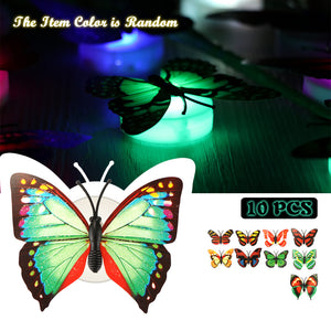 10pcs LED Night Light Color Changing Butterfly Stick-on for Xmas or Party