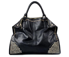 Black Punk Rivet Tote Bag
