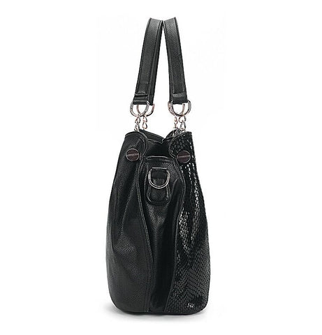 LindsiAlexander.com Large Black Leather Tote Bag