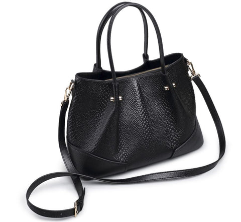 LindsiAlexander.com - Boston Pillow Genuine Cowhide Leather Bag Black