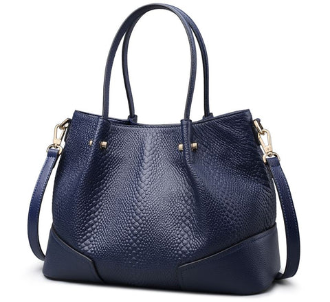 LindsiAlexander.com - Boston Pillow Genuine Cowhide Leather Bag Blue