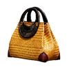 Image of LindsiAlexander.com - Woven Straw Handbag with Bamboo