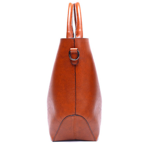 LindsiAlexander.com Classic Split Leather Tote Bag in Brown