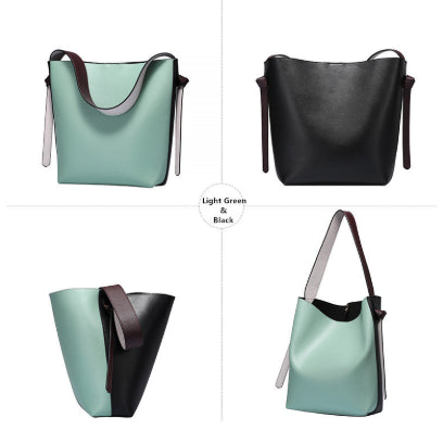 LindsiAlexander.com Genuine Leather Two Tone Modern Tote Bag in Light Green