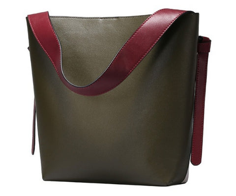 LindsiAlexander.com Genuine Leather Two Tone Modern Tote Bag in Olive Green