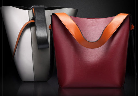 Genuine Leather Two Tone Modern Tote Bag (4 colors)