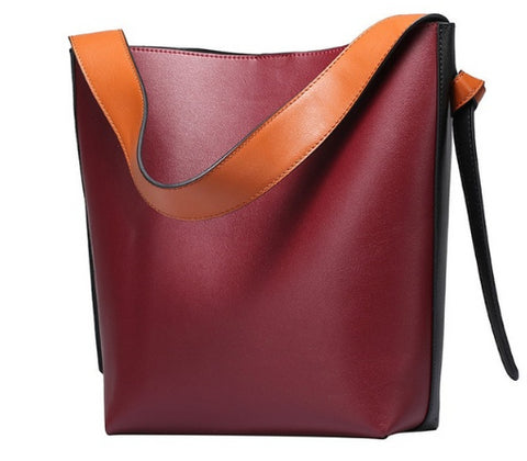 LindsiAlexander.com Genuine Leather Two Tone Modern Tote Bag in Red Wine
