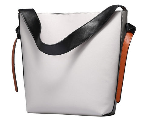 LindsiAlexander.com Genuine Leather Two Tone Modern Tote Bag in Gray