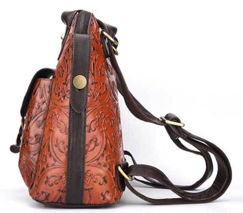 LindsiAlexander.com -  Genuine Leather Embossed Handbag Backpack