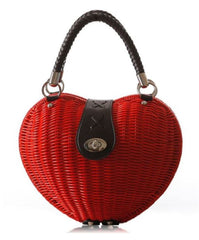 LindsiAlexander.com - Heart Shaped Straw Handbag in Red