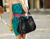 Image of LindsiAlexander.com Large Black Leather Tote Bag