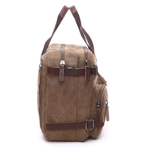 LindsiAlexander.com - Men's Leather and Canvas Travel Bag Khaki