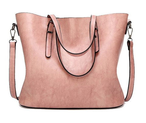LindsiAlexander.com - Oil Wax Split Leather Tote Bag in Pink