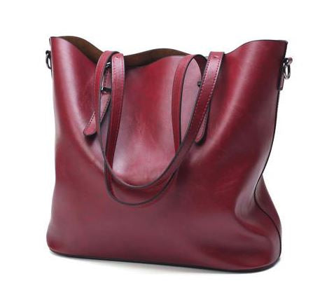 LindsiAlexander.com - Oil Wax Split Leather Tote Bag in Red