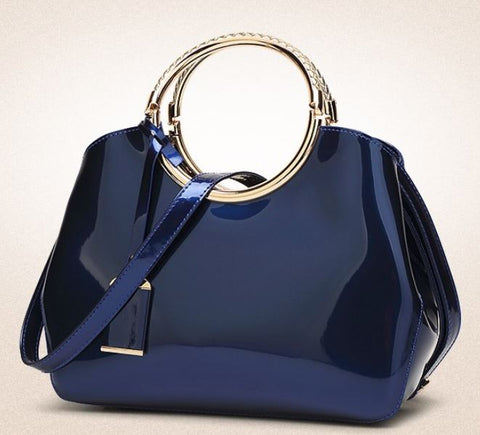 LindsiAlexander.com - Patent Leather Silver Accented Handbag in Blue
