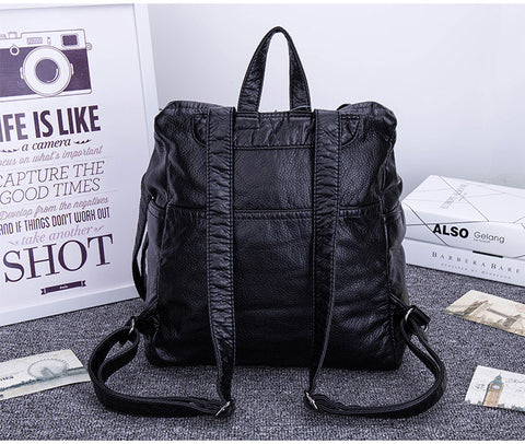 LindsiAlexander.com -  Soft Split Leather Slouch Backpack in Black
