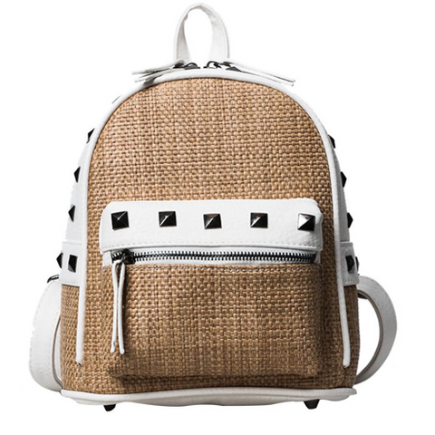 LindsiAlexander.com Straw Mini Backpack in Khaki