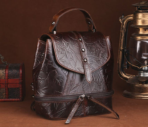 LindsiAlexander.com - Vintage Genuine Leather Embossed Backpack