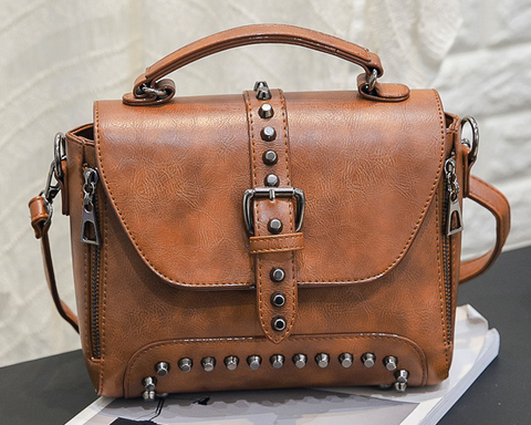 LindsiAlexander.com Vintage Riveted Handbag in Brown