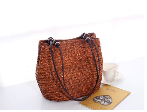 LindsiAlexander.com - Casual Bucket Straw Tote Bag in Brown