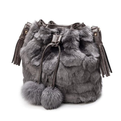 LindsiAlexander.com - Faux Rabbit Bucket Bag in Gray
