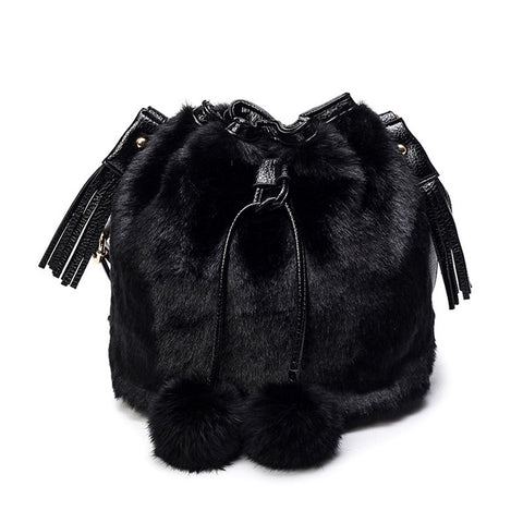 LindsiAlexander.com - Faux Rabbit Bucket Bag in Black