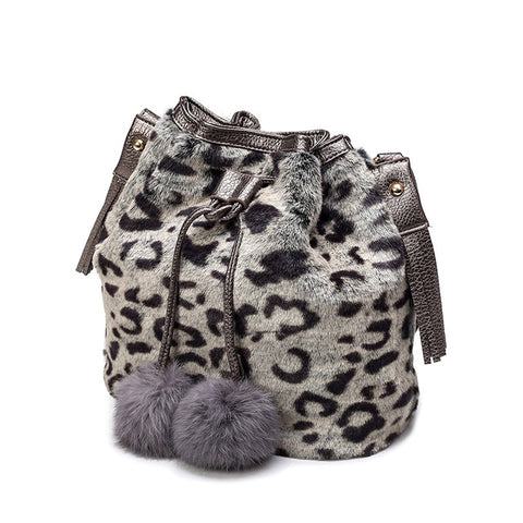 LindsiAlexander.com - Faux Rabbit Bucket Bag in White Leopard Pattern