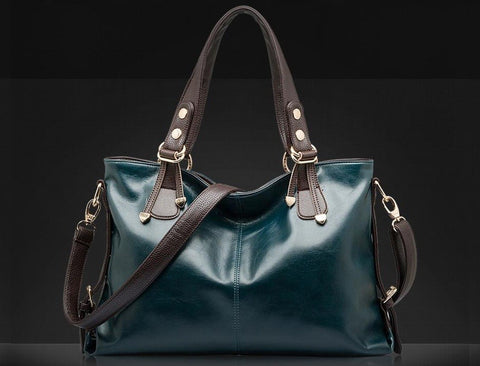 LindsiAlexander.com Genuine Leather Tote Bag in Green