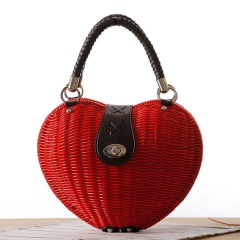 LindsiAlexander.com - Heart Shaped Straw Handbag in Beige in Red
