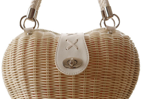 LindsiAlexander.com - Heart Shaped Straw Handbag in Beige