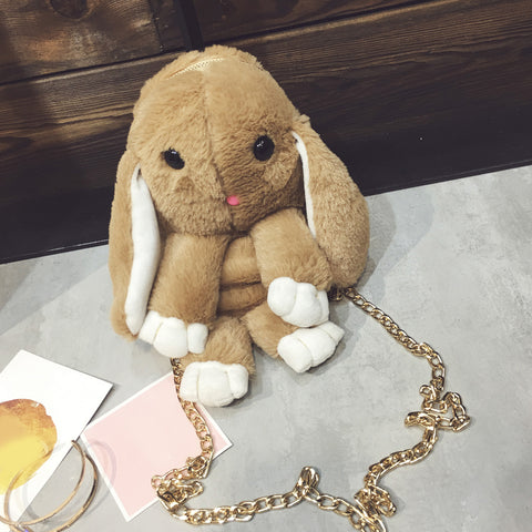 Furry Bunny Rabbit Bag in Light Brown - Lindsi Alexander Bags