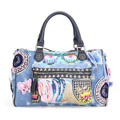 Denim Applique Handbag (3 colors)