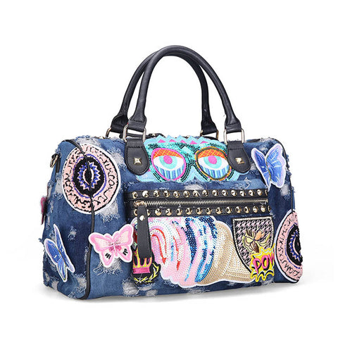 LindsiAlexander.com -  Denim Applique Handbag