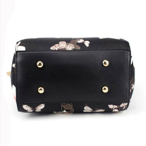 LindsiAlexander.com - Floral Leather Handbag in Black