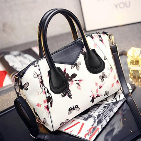 LindsiAlexander.com - Floral Leather Handbag in White