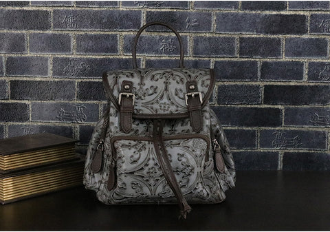 LindsiAlexander.com -  Genuine Leather Embossed Backpack in Gray