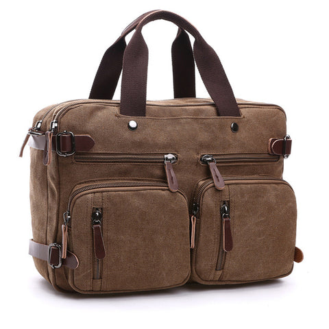 LindsiAlexander.com - Men's Leather and Canvas Travel Bag Brown