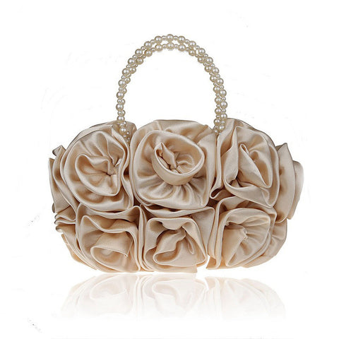 LindsiAlexander.com - Silk Flower Evening Bag in Gold Beige