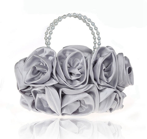 LindsiAlexander.com - Silk Flower Evening Bag in Silver