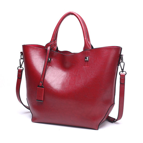 LindsiAlexander.com Classic Split Leather Tote Bag in Red