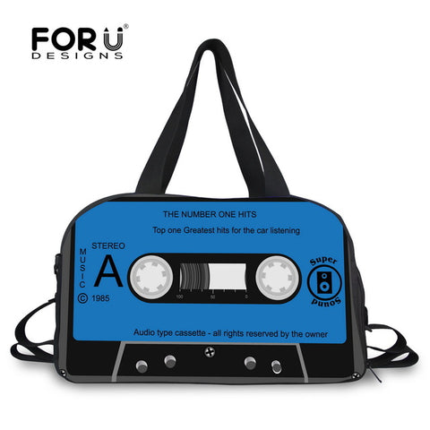 LindsiAlexander.com Canvas Cassette Tape Duffel in Blue