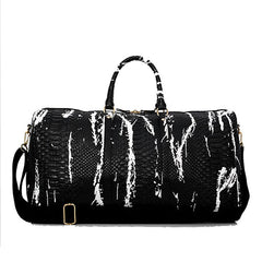 Split Leather Snake Pattern Black/White Leather Duffel (2 colors)